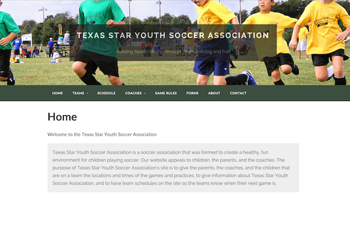 Texas Star Youth Soccer Association - Zachary Price Web Design